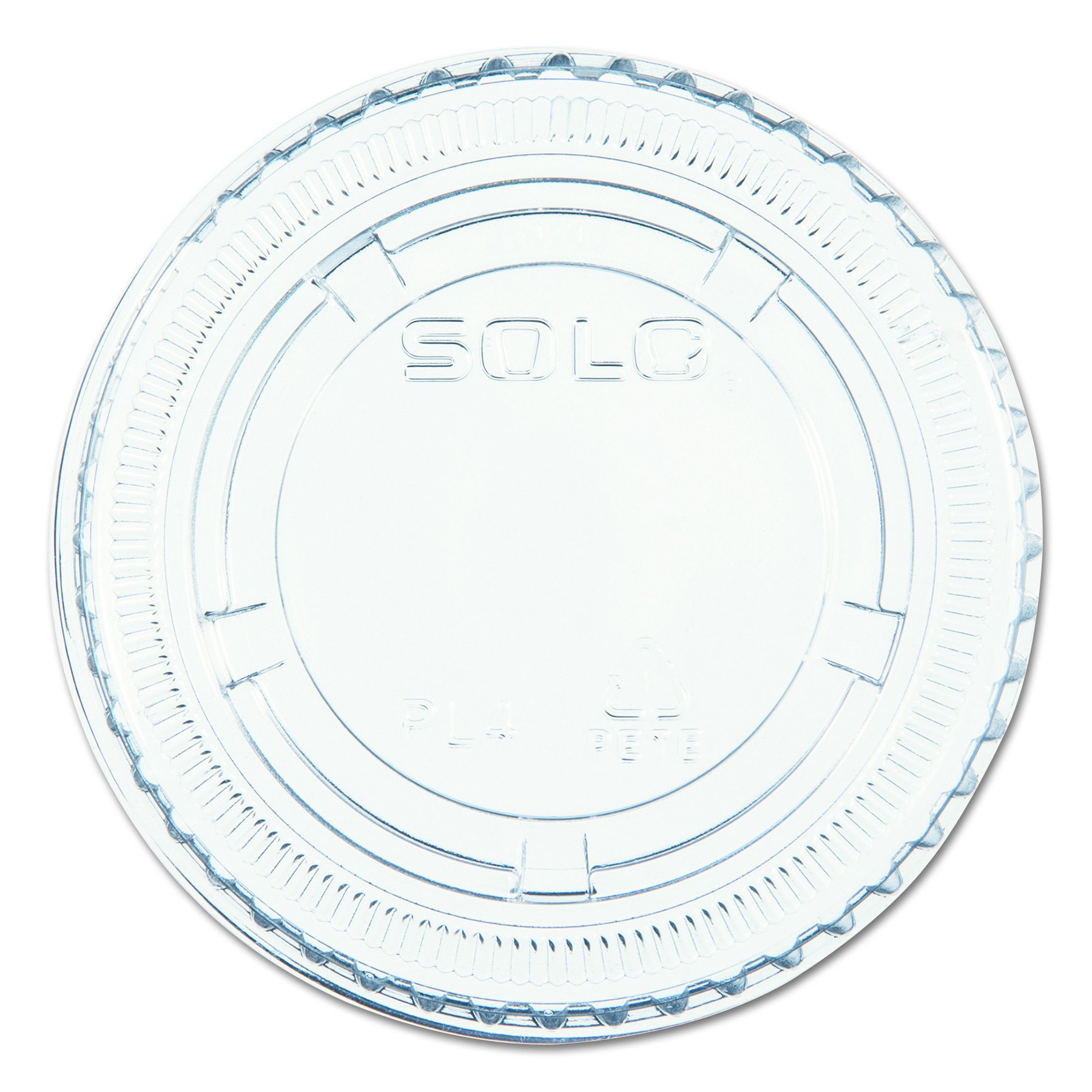 SOLO Cup Company PL4N No-Slot Plastic Cup Lids, Fits 3.25 - 5.5 oz Cups, Clear, 125 Per Sleeve (Case of 20 Sleeves) by SOLO