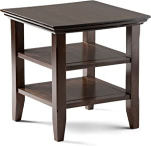 SIMPLIHOME Acadian SOLID WOOD 19 inch wide Square Rustic Contemporary End Side Table in Brunette Brown with Storage, 2 Shelves, for the Living Room and Bedroom