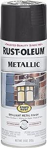 Rust-Oleum 7250830 Stops Rust Metallic Spray Paint, 11 oz, Black Night