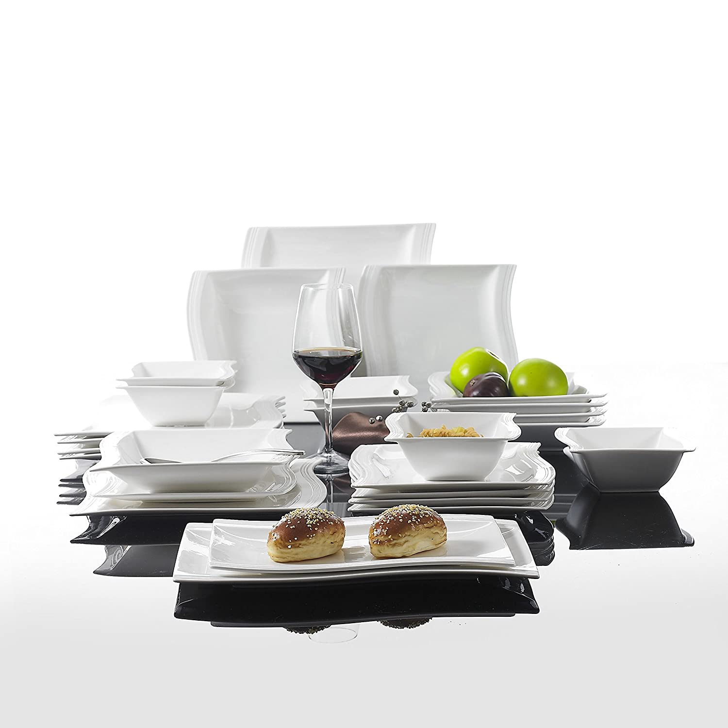 Amazon.com | Malacasa Series Flora 26-Piece Ivory White Porcelain Dinner Combi-Set with 6 Cereal Bowls 6 Dessert Plates 6 Soup Plates 6 Dinner Plates and ...  sc 1 st  Amazon.com : oblong dinner plates white - pezcame.com