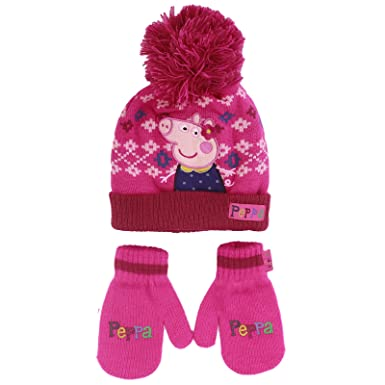 Girls Peppa Pig Winter Bobble Hat Mitten Gloves Set Age 1-6 Years Maroon  Pink c96cb86a99e5