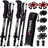 TAC9ER Ultralight Carbon Fiber Adjustable Trekking Poles with Straps - Foldable Collapsible Walking Sticks for Hiking, Skiing