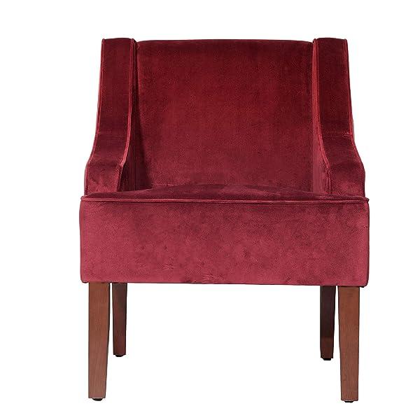 HomePop K6499-B119 Velvet Swoop Arm Accent Chair, Burgundy