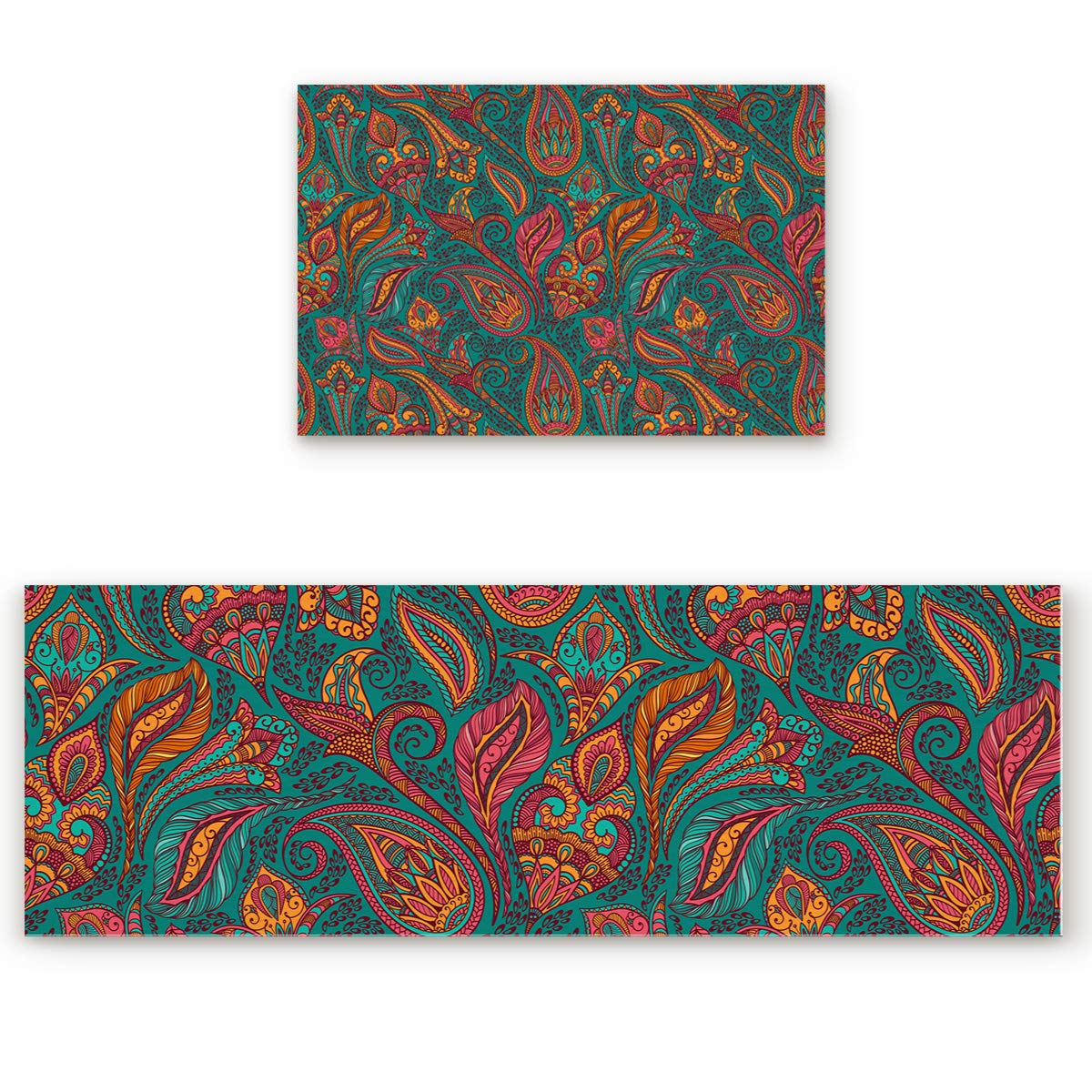 Paisley 12san9253 19.7 x31.5 +19.7 x63  Savannan 2 Piece Non-Slip Kitchen Bathroom Entrance Mat Absorbent Durable Floor Doormat Runner Rug Set - Geometric Pattern
