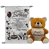 Saugat Traders Happy Birthday Soft Teddy With Birthday Scroll Card