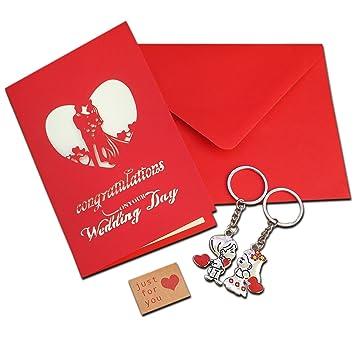 Regalo de compromiso de boda Tarjeta 3d Pop Up con boda par ...