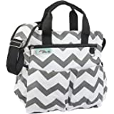 Travel Diaper Bag Tote for Boys and Girls Premium Cotton Canvas 9 Pockets Gift Wet / Dry Bag and Baby Cushioned Changing Mat Bonus eBook Best Shower Gift multi-function, Chevron