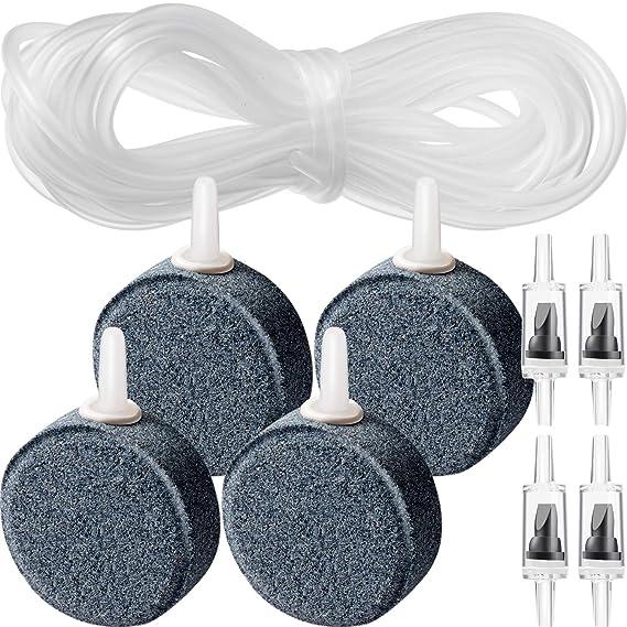 4 Piezas de Piedra de Aire Difusor de Burbujas Discos con 4 Piezas de Contador de Burbujas y 32,8 Pies de Tubería de Línea Aérea para Acuario Pecera Bomba ...