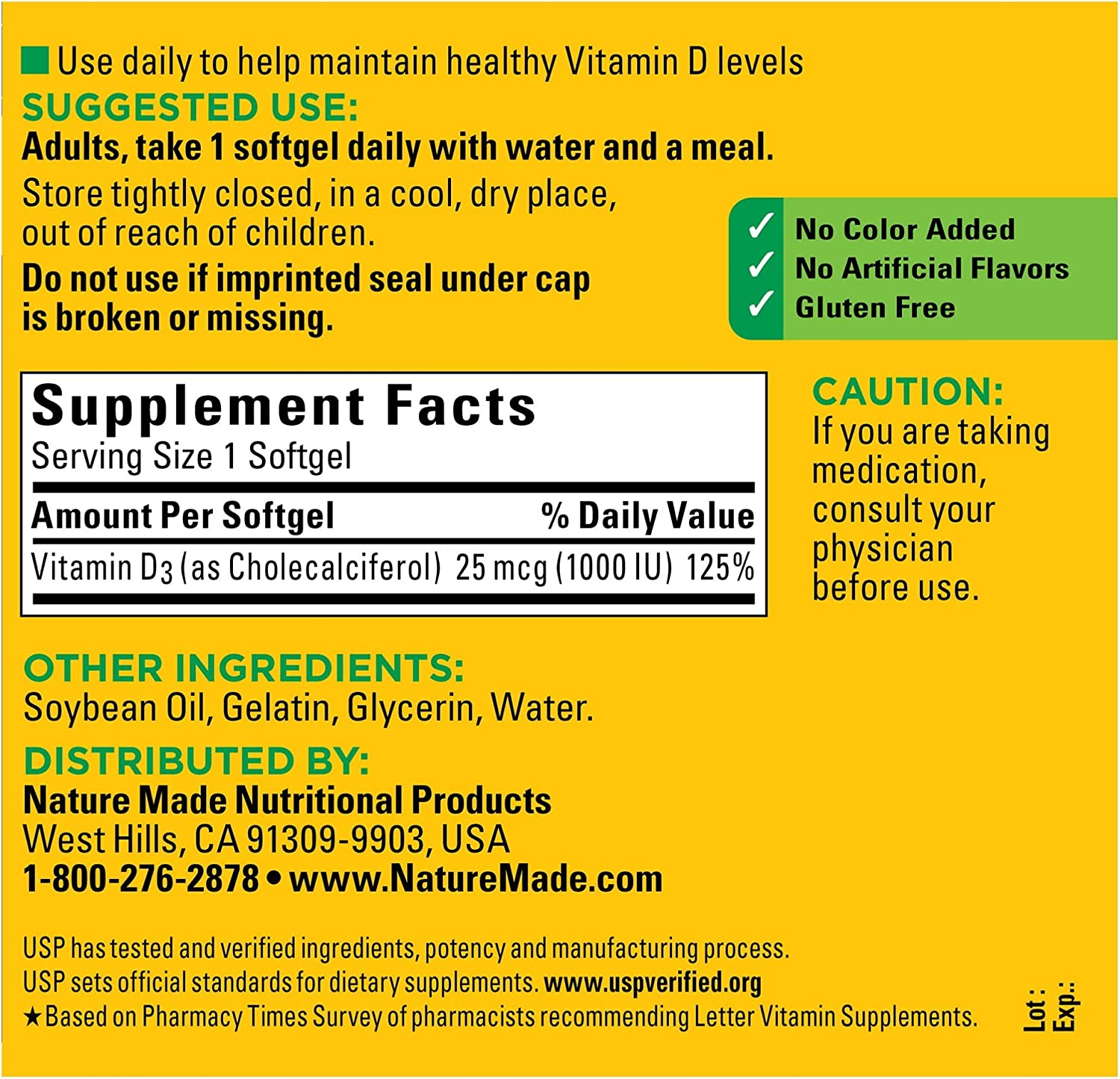 Amazon Com Nature Made Vitamin D3 1000 Iu 25 Mcg Softgels 300 Count For Bone Health Packaging May Vary Health Personal Care