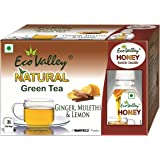 Eco Valley Natural Green Tea, Ginger, Lemon and Mulethi, 25 Tea Bags with Eco valley Honey Bottle, 30g