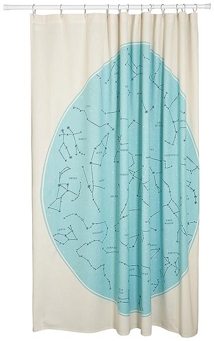 Danica Studio Cotton Shower Curtain Galaxy Constellation Print