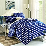 EsyDream Home Bedding,Ocean Shark Design Kids Duvet Cover Sets,Queen Twin Size Shark Children Bedspreads,Cotton & microfiber (No Comforter),Twin Size (4pc Set)