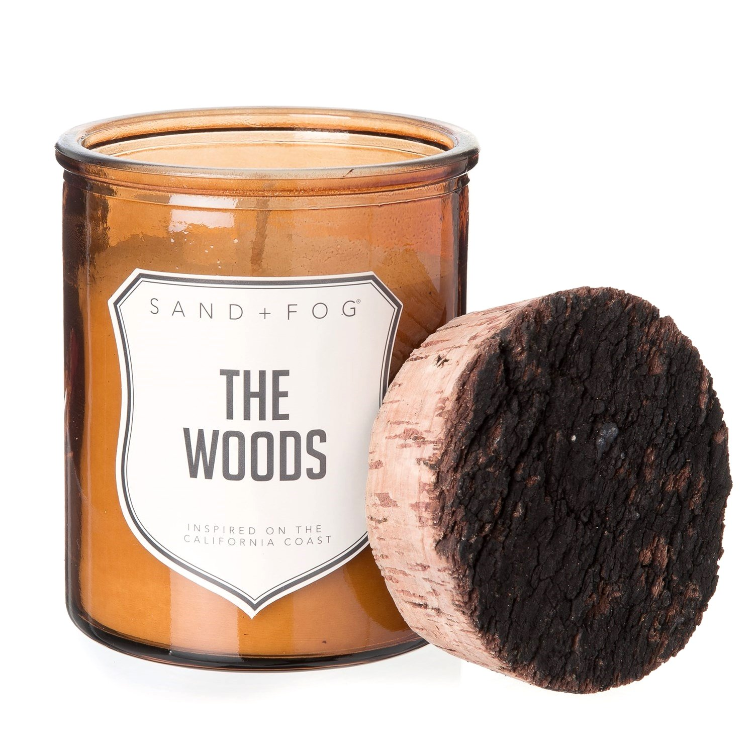 Sand + Fog The Woods Glossy Molded Glass Candle - 9 oz, Cork Lid