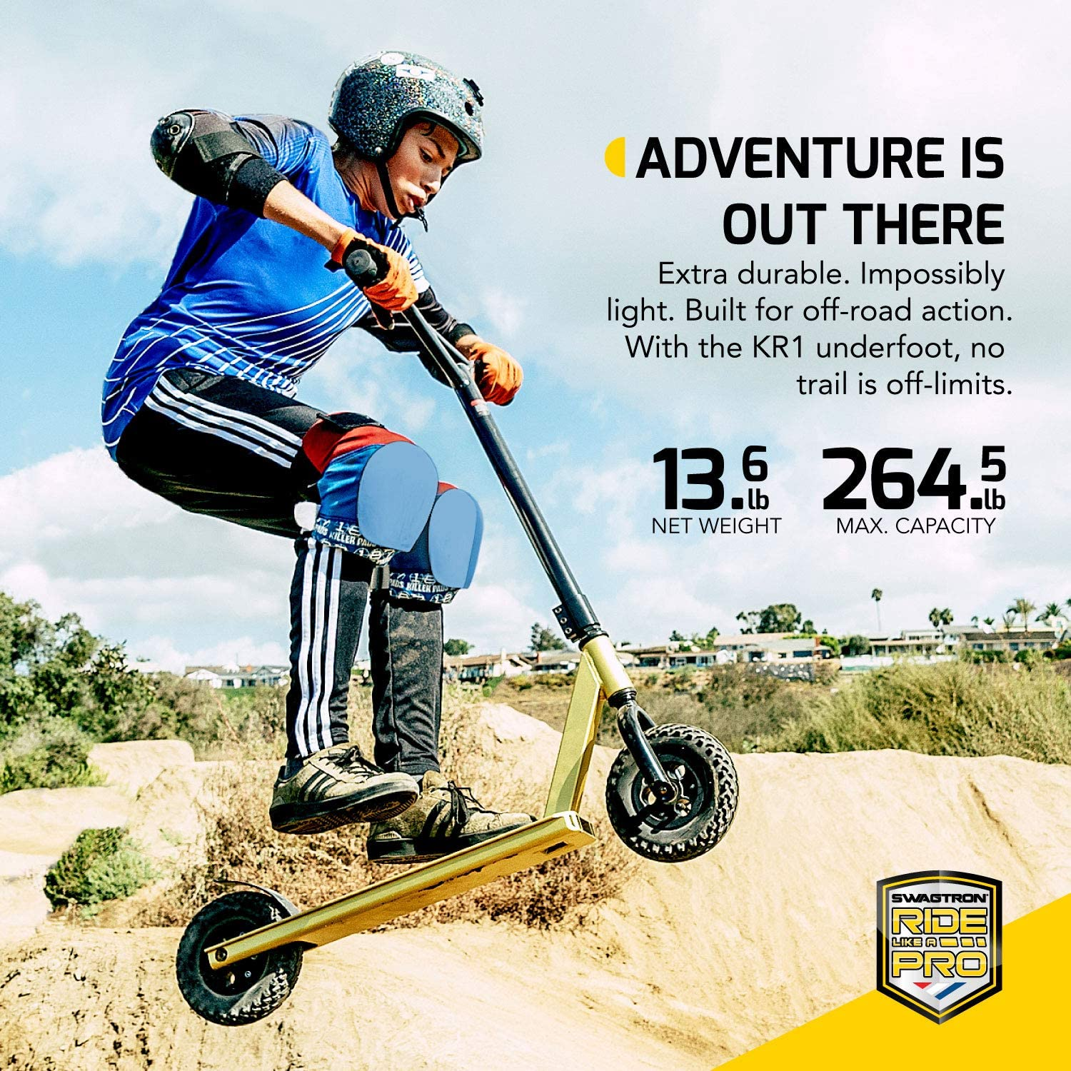 Swagtron KR1 All-Terrain Dirt Kick Scooter ASTM-Certified /& 8-INCH KNOBBY Tires
