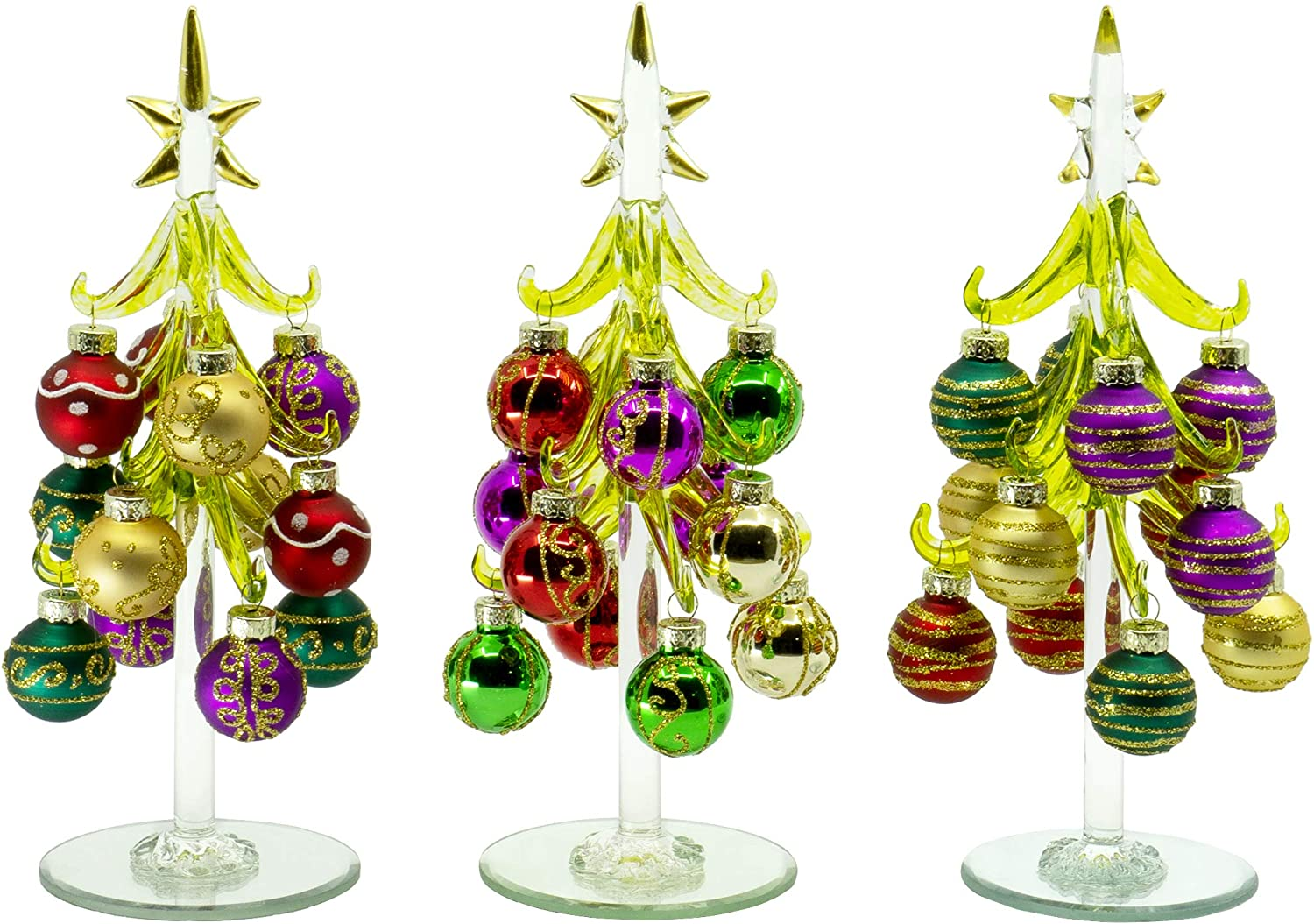Red Co. Glass Christmas Tree Tabletop Display Decoration with Assorted Ball Ornaments, Holiday Season Decor, 8 Inches, Set of 3