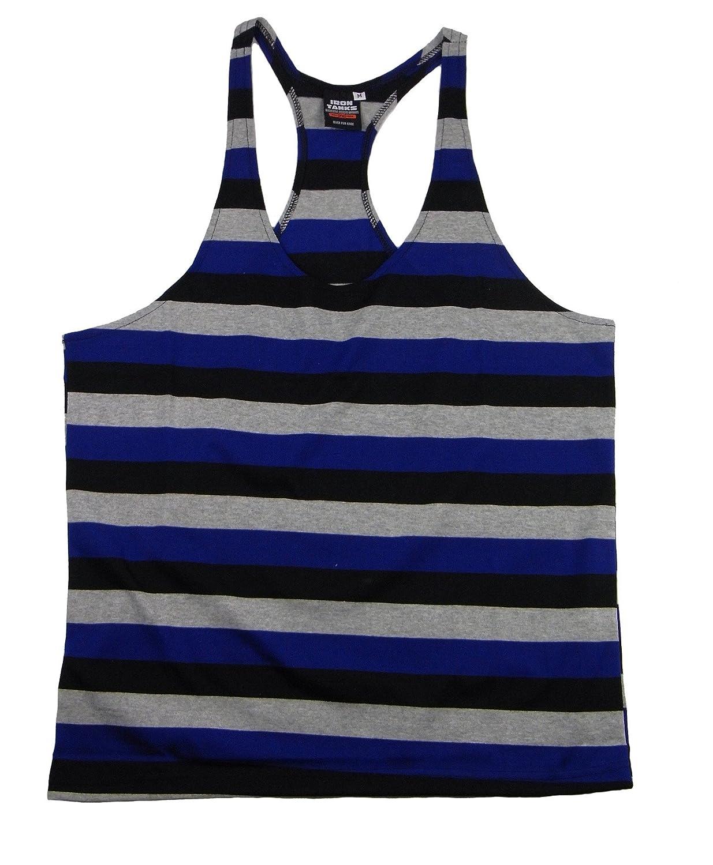 b2f32b301e321 Amazon.com  Iron Tanks Tri Stringer Gym Singlet - Blue - Gym Bodybuilding  Powerlifting Mens Singlet  Clothing