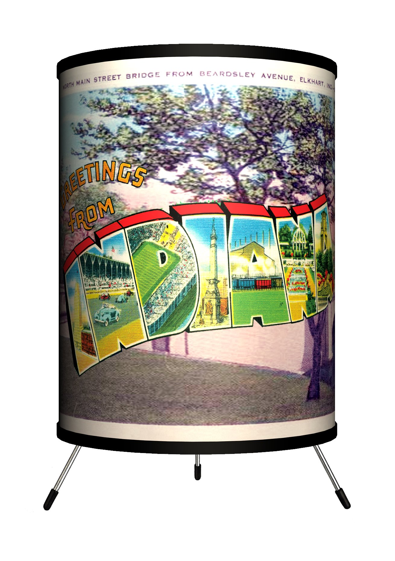 Lamp-In-A-Box TRI-TRV-INDIA Travel - Indiana Postcard Tripod Lamp, 8'' x 8'' x 14''