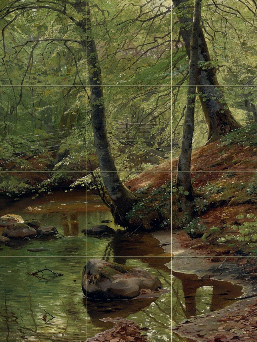 FOREST STREAM by Peder Monsted trees bridge water landscape Tile Mural Kitchen Bathroom Wall Backsplash Behind Stove Range Sink Splashback 3x4 6'' Rialto by FlekmanArt