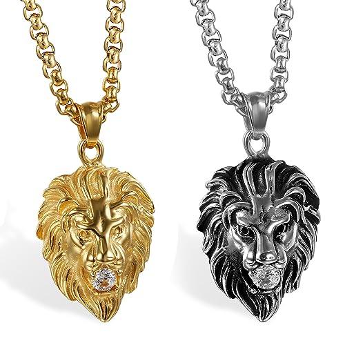 17fbadfc970192 JewelryWe Gioielli Collana da Uomo in Acciaio Inossidabile Gotico con  Diamante, Ciondolo Testa di Leone