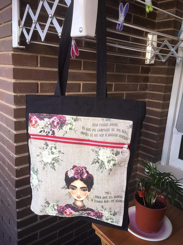 Bolso tote bag Frida Kahlo con monedero a juego, hecho a mano by El mundo de Lúa