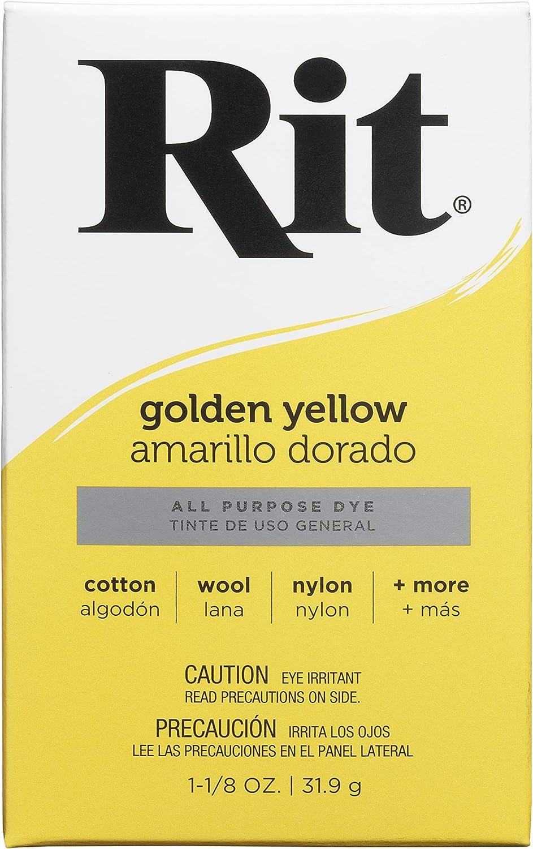Rit All-Purpose Powder Dye, Golden Yellow Tinte en Polvo Multiusos, Amarillo Dorado, Tela, 1-1/8 oz