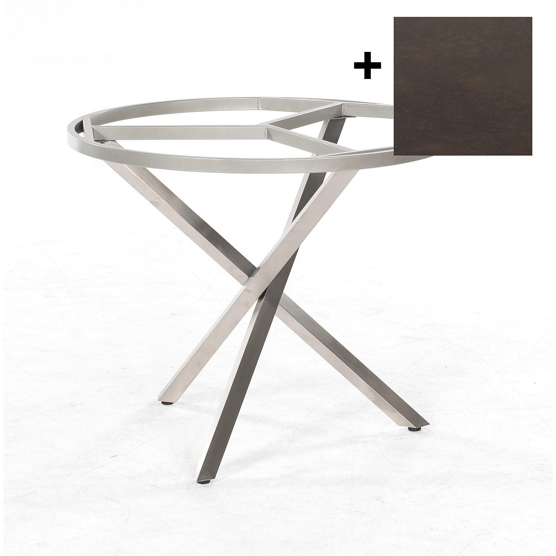 Sonnenpartner Tisch System Base rund Ø 100 cm Edelstahl Platte Keramikoptik