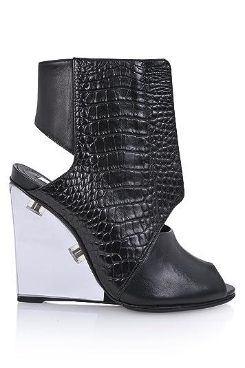 Women's Cyssa Unique Croc Peep toe Glass heel Wedge Cutout Bootie