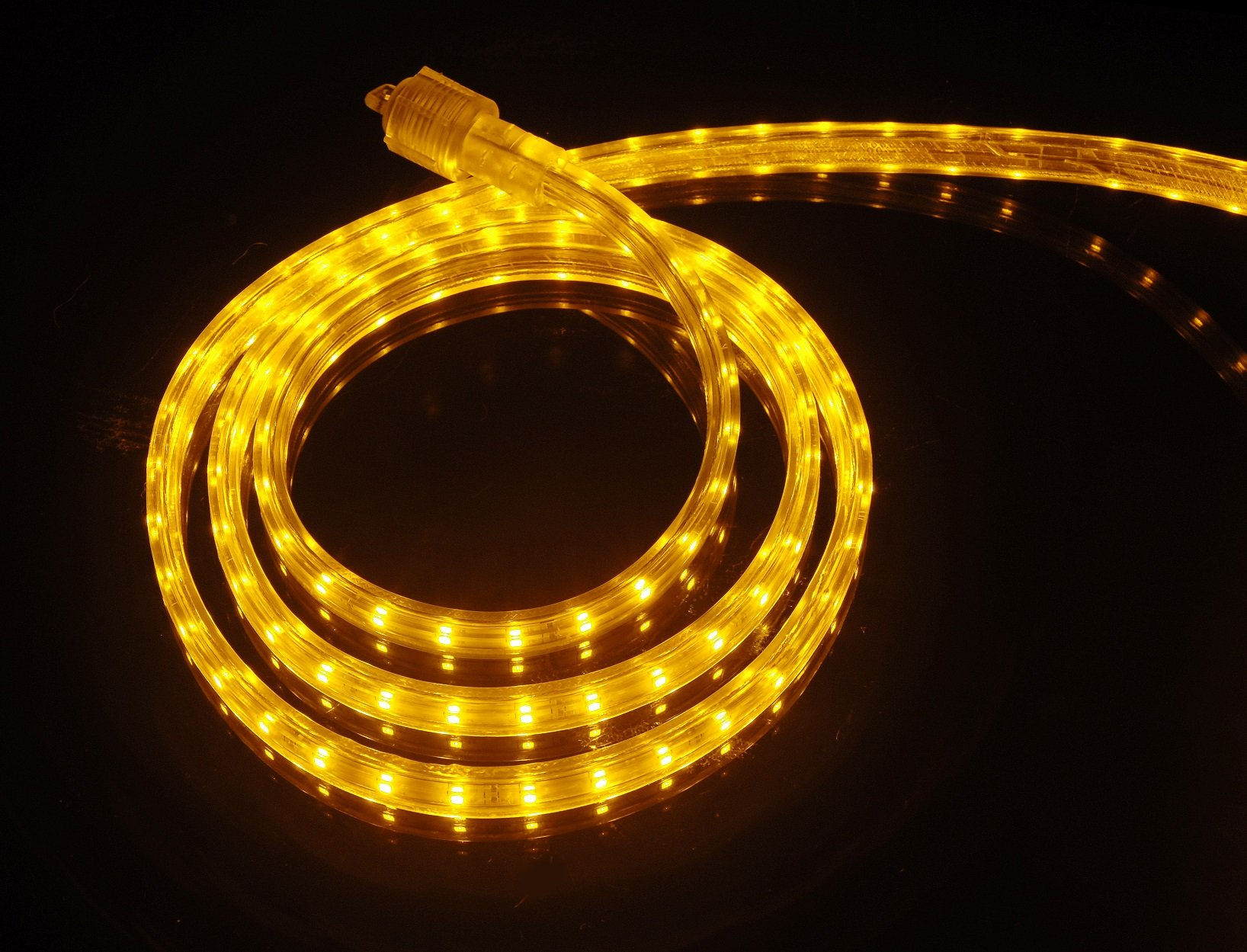 CBConcept UL Listed, 100 Feet, 10100 Lumen, Yellow, Dimmable, 110-120V AC Flexible Flat LED Strip Rope Light, 1830 Units 3528 SMD LEDs, Indoor/Outdoor Use, Accessories Included, [Ready to use]