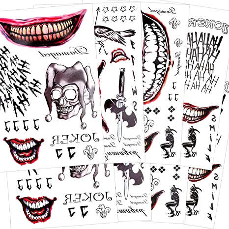 Konsait 82 piezas SuicidePelícula Tatuaje Joker Tattoos Halloween ...