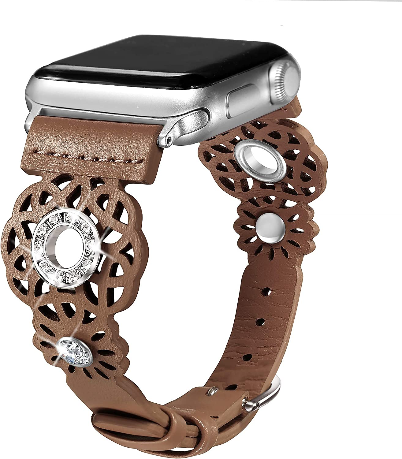 Secbolt Leather Bands Compatible with Apple Watch Band 38mm 40mm iWatch Series 6/5/4/3/2/1/SE, Soft Top Grain Genuine Leather with Rhinestones Wristband Strap Accessories Women
