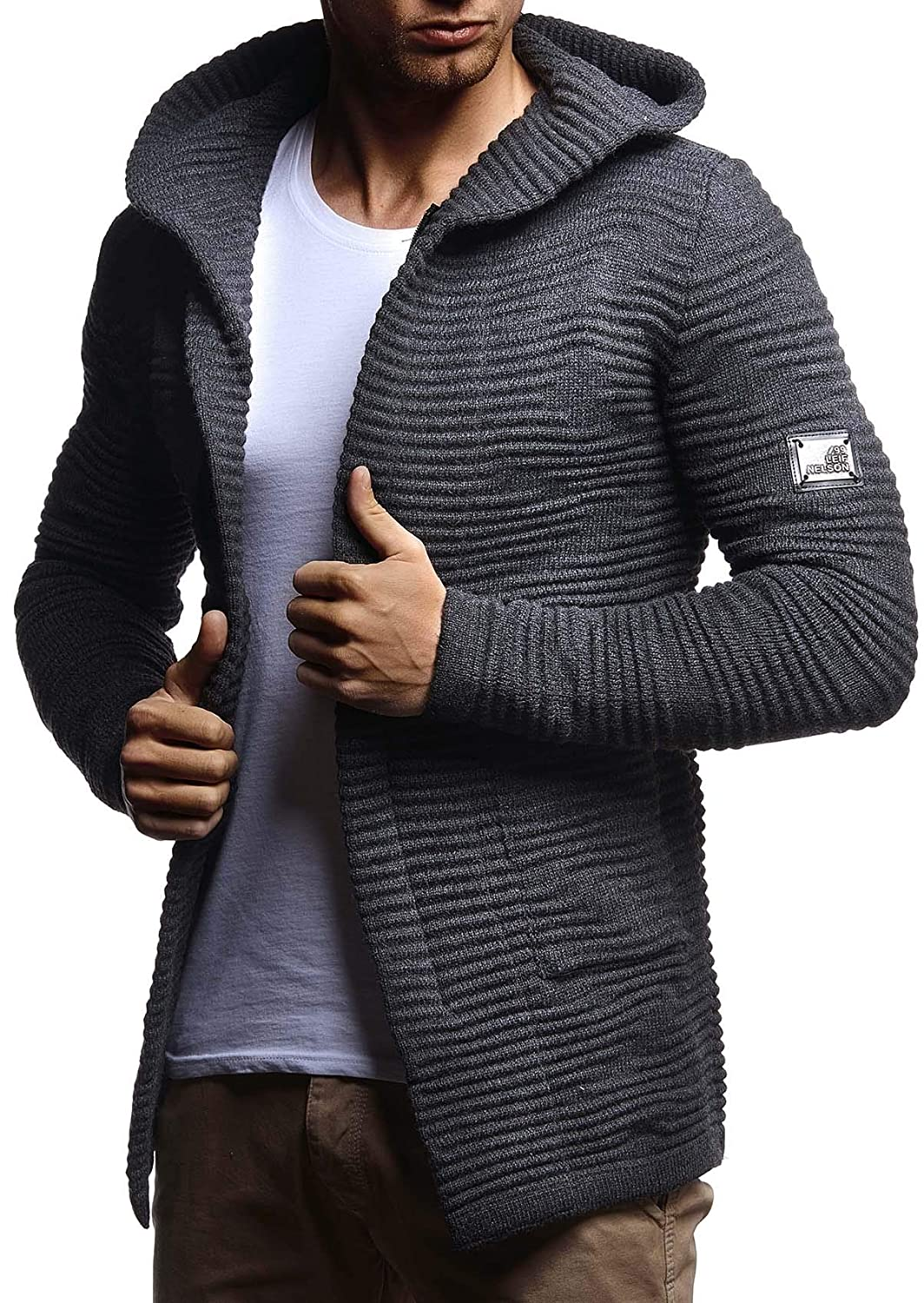 Amazon.com: LEIF NELSON Mens Stylish Knit Sweater Sweatshirt | Knitted Turtleneck Pullover | LN7180; XX-Large, Anthracite: Clothing