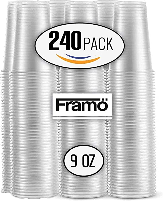 9 Oz Clear Plastic Cups by Framo, For Any Occasion, BPA-Free Disposable Transparent Ice Tea, Juice, Soda, and Coffee Glasses for Party, Picnic, BBQ, Travel, and Events, (240, clear)