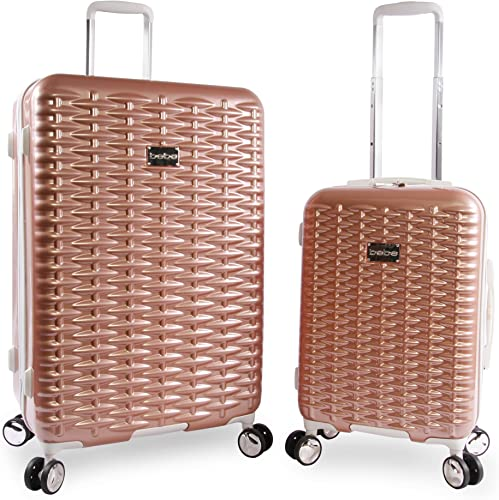 BEBE Women s Lydia 2 Piece Set Suitcase with Spinner Wheels, Rose Gold, One Size