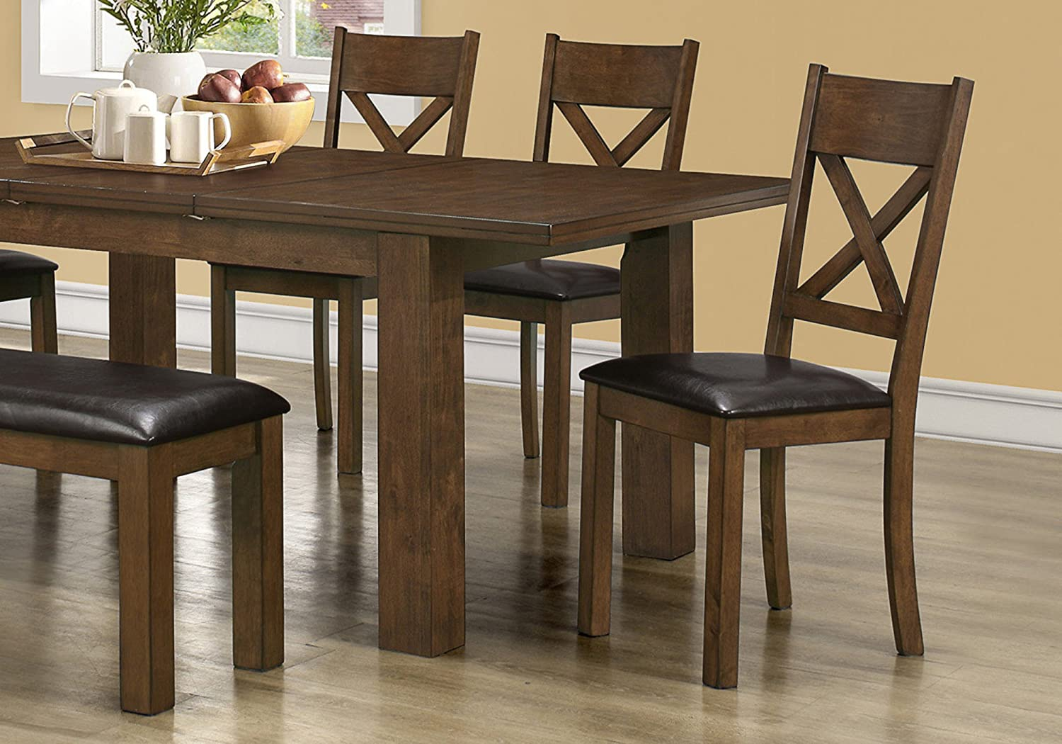 I 1551 Set Of 2 Solid Wood Dining Chairs Leather Look Upholstered Seats Brown Kitchen Chairs Amazon Ca Home Kitchen