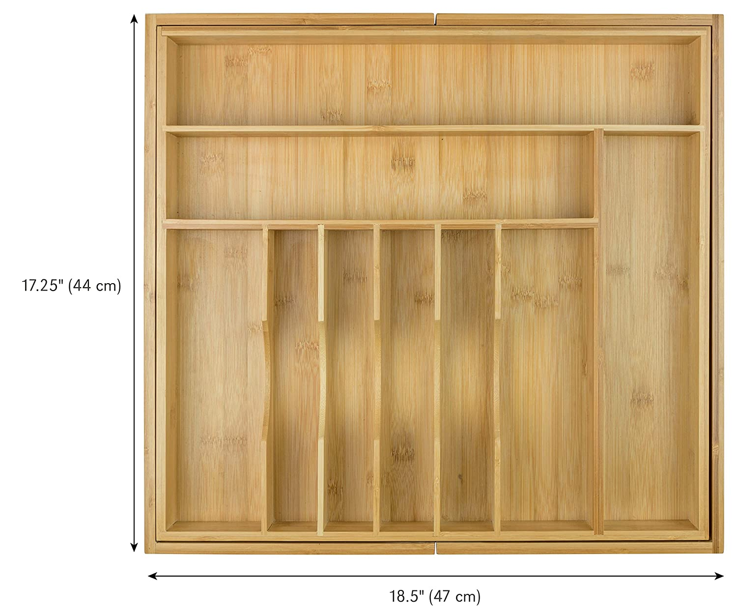 10 Compartments Flatware and Utensil Organizer for Kitchen Drawers Expandable to 25 Inches Wide KitchenEdge Premium Silverware 100/% Bamboo