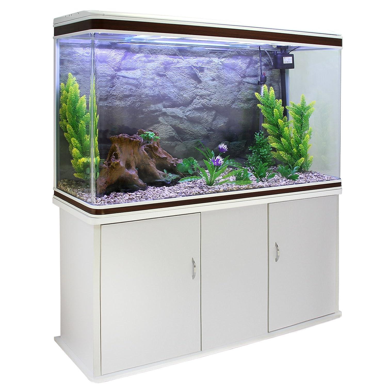 MonsterShop - Acuario 300 litros con Mueble Blanco y Grava Natural 143cm x 120cm x 39cm: Amazon.es: Hogar