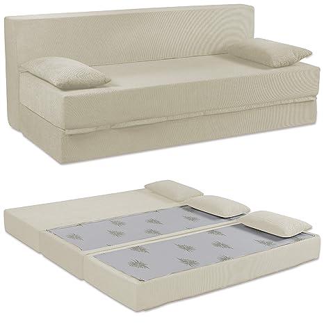 Baldiflex Sofá Cama de 3 Plazas Espuma viscoelastica, Modelo Tetris. Confortable Funda extraíble y Lavable. Color Blanco Perla.
