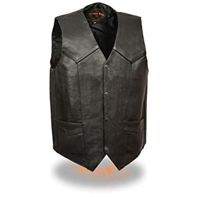 9f0531da9d00 Amazon.com  Mens Classic Leather Snap Front Vest with Gun Pockets ...
