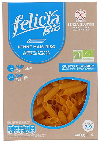 Felicia Bio Pasta Al maíz sin gluten Penne Rigate 340g ...
