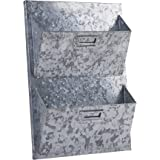 Dwellbee Metal Wall Storage and Mail Sorter, 2-Tier (Galvanized Steel)