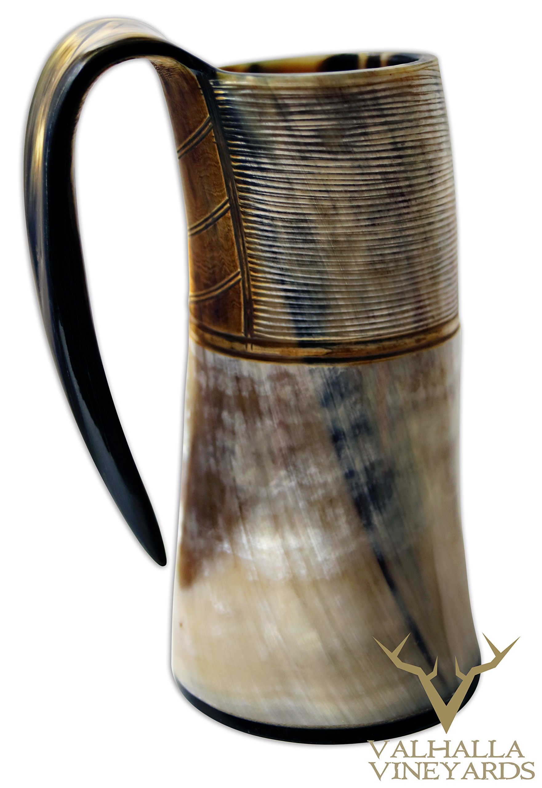 XXL King Size Authentic Natural Style Viking Buffalo Drinking Pitcher / Mug - Authentic Medieval Inspired Mug/Pitcher (42 oz) (Lighter Color) by Valhalla Drinkware (Image #8)