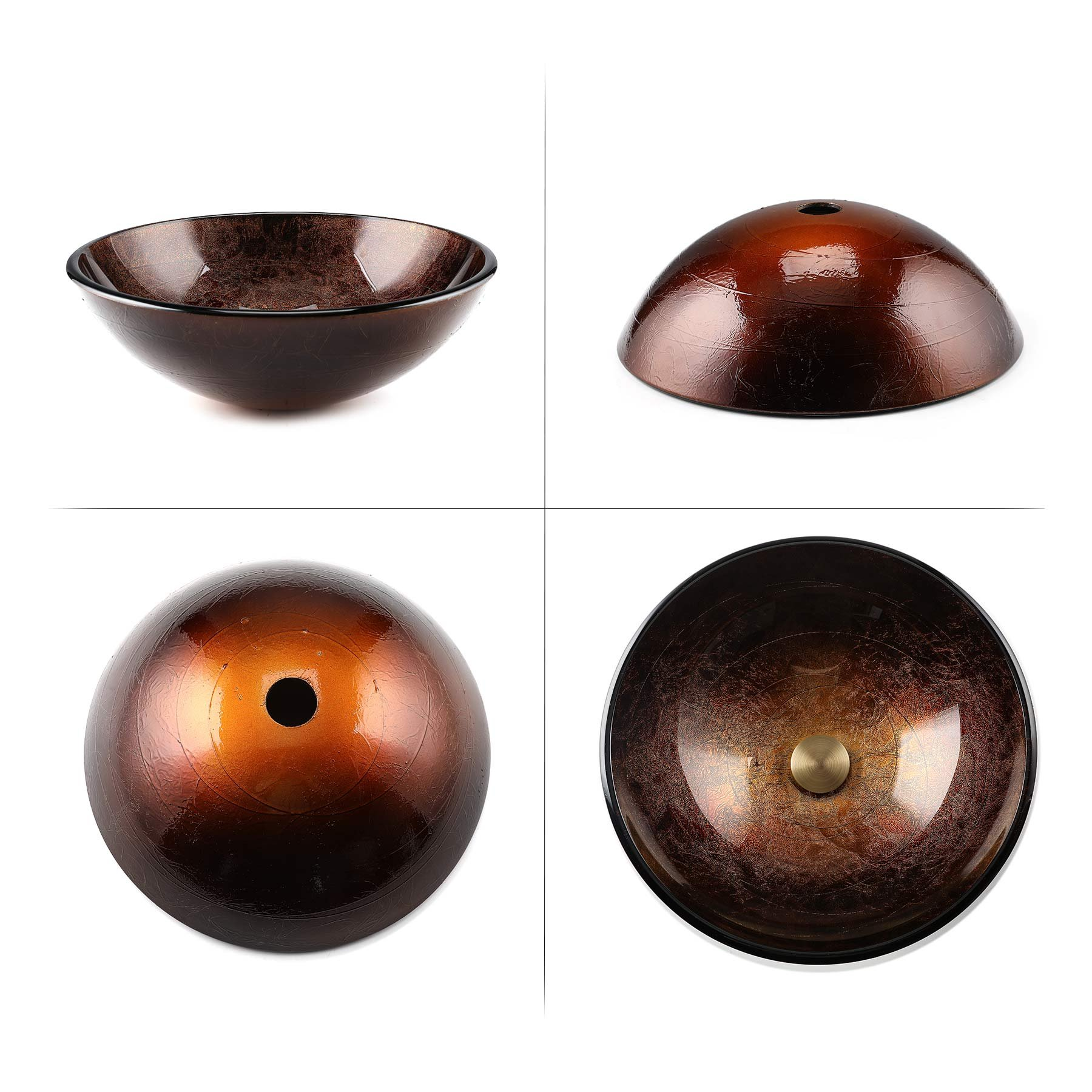 16.5'' x 16.5'' Bathroom Glass Vessel Sink, Round Artistic Handcrafted Gold Foil Color Tempered Glass Vanity Sink Bowl with Chrome Pop Up Drain Stopper (Copper) by CO-Z (Image #6)