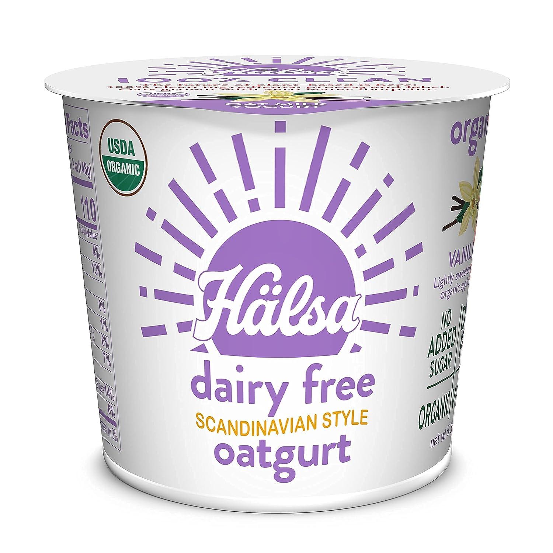 Hälsa 100% Clean Dairy-Free Oatmilk Yogurt   Vanilla Prebiotics & Probiotics, Whole Grain Oats, Plant Based, Vegan   8 pack – 5.3 oz. Cups (Vanilla)