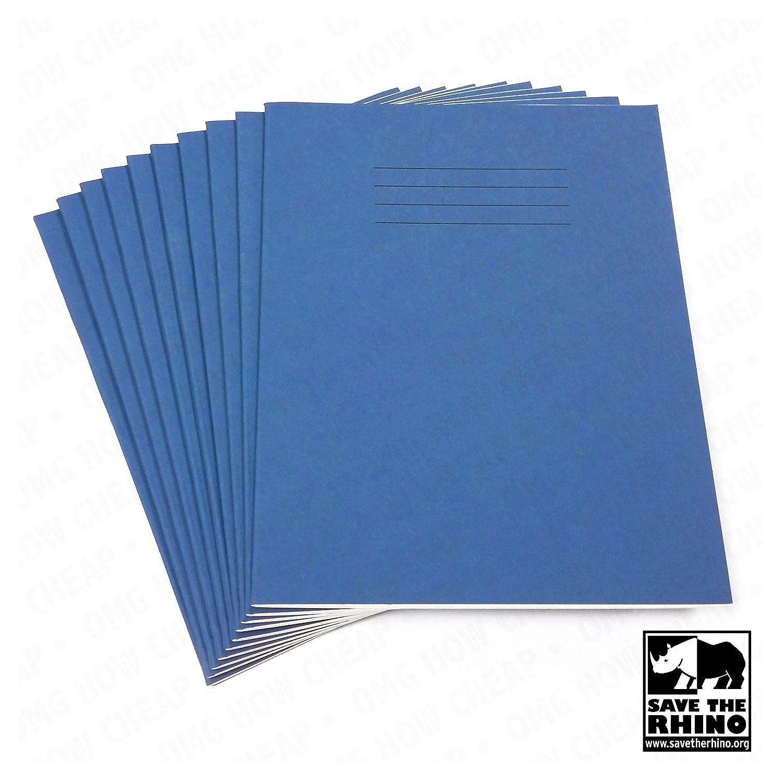 ESERCIZIO SCUOLA LIBRI 8mm LINEE A5 48 Pagine 165 x 203mm BLU COPERTURA Confezione Da 10 Rhino