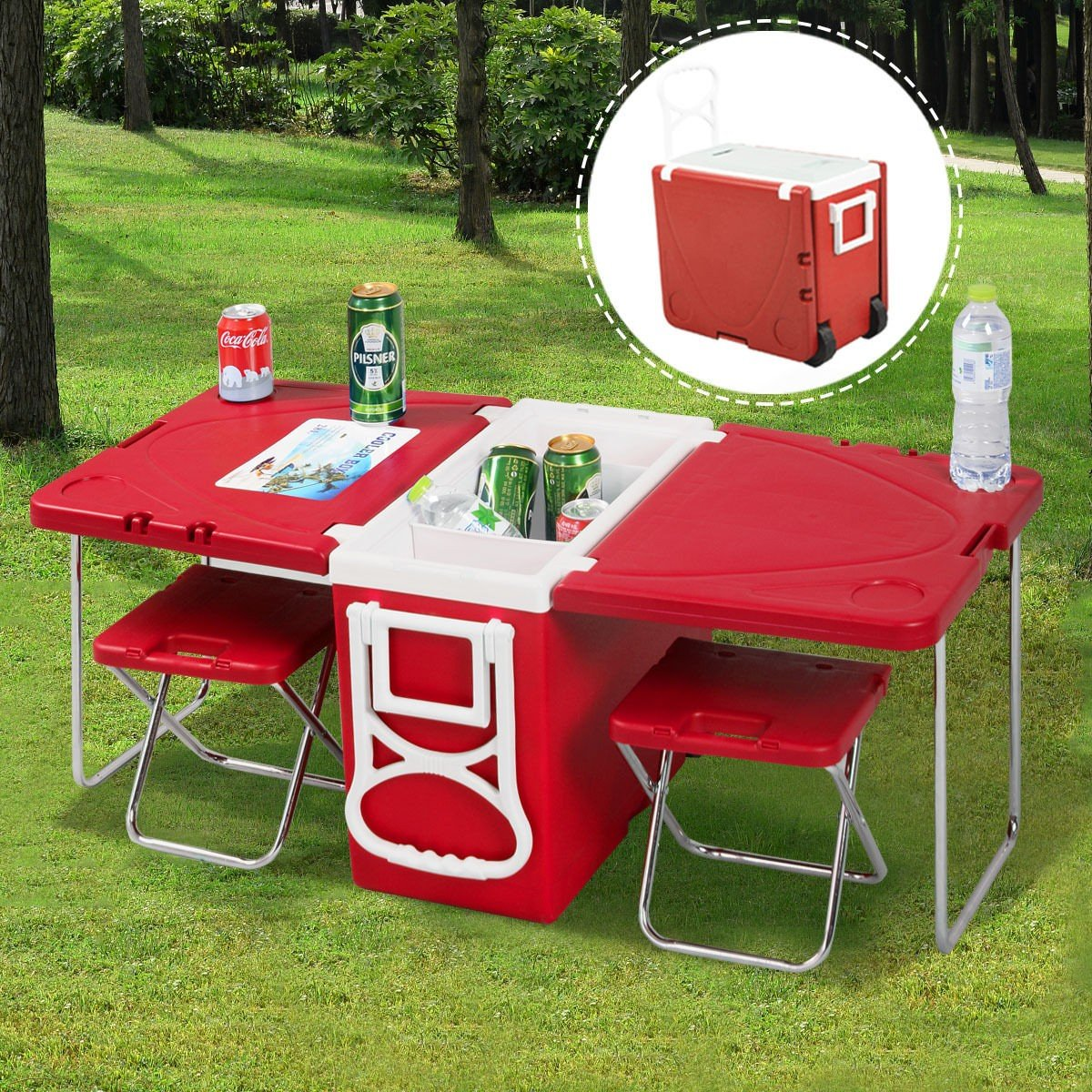CHOOSEandBUY Multi Functional Rolling Picnic Cooler w/Table & 2 Chairs - RED by CHOOSEandBUY (Image #2)