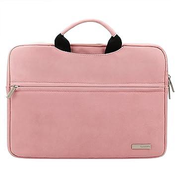 baeafaf9f6f98 AMOLEN 15.6 Zoll Laptoptasche Wildleder Leder Wasserdicht Verschleißfest  Stoßdämpfung Aktentasche Sleeve Hülle Schutzhülle Handtasche für 15.6