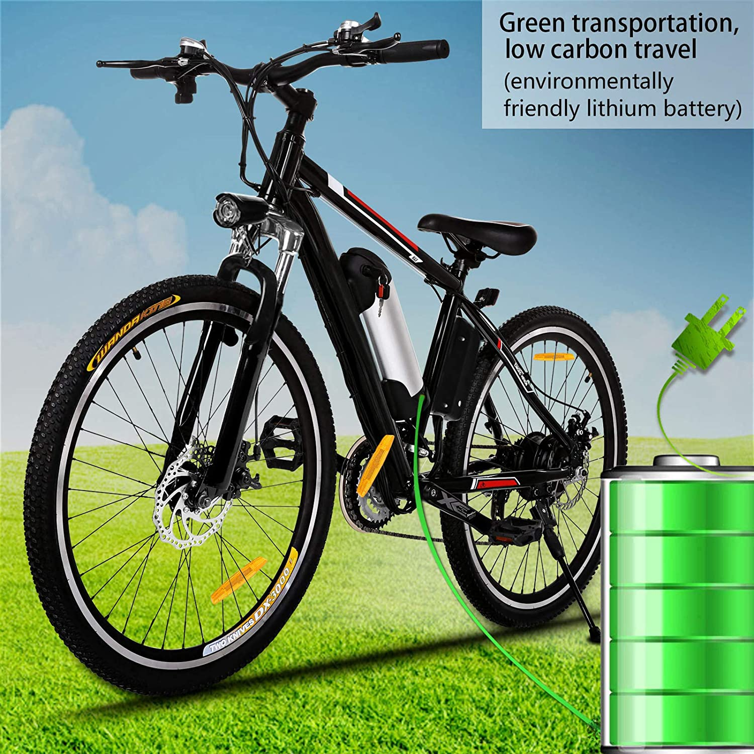 Kemanner 26 inch Electric Mountain Bike 21 Speed 36V 8A Lithium Battery Electric Bicycle for Adult Black