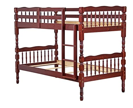 official photos c966f 82980 100% Solid Wood Arlington Twin/Twin Bunk Bed, by Palace Imports, Mahogany,  8 Slats Included. Optional Pack of 18 Slats, Trundle, Drawers, Rail Guard  ...