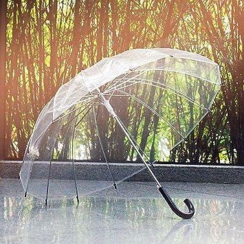 YNG 16 Paraguas de Hueso Paraguas Transparente Retro Mango Largo Paraguas Transparente Paraguas Creativo,Negro