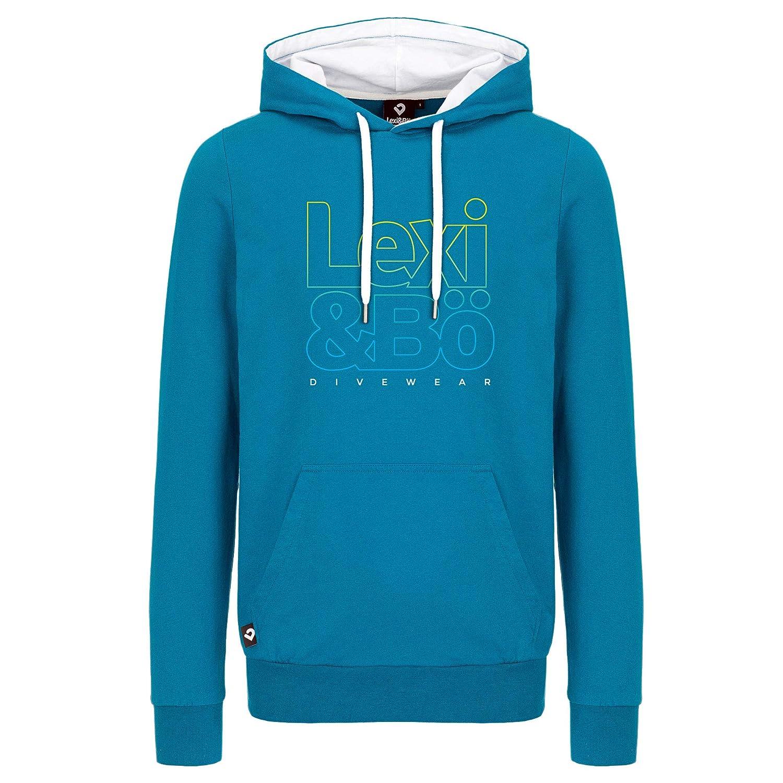 Lexi&Bö Herren Hoodie aus angenehmen leichtem Italian Fleece, Cooler Logo Frontprint mit Farbverlauf aus Hochwertiger Bio-Baumwolle fair produziert in Portugal